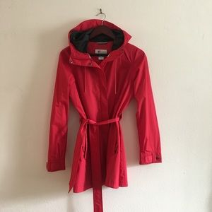 Red Rain Jacket With Trench Style Tie Columbia